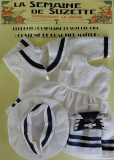 """Robe pour Bleuette. Costume marin """"Quartier Maître""""."""