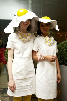Sarah Matthews and Becki Evans Merritt in Tatty Devine Easter bonnet…