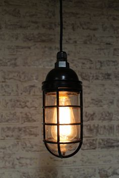 Bunker cage pendant from Fat Shack Vintage. Would look perfect against a concrete backdrop! Vintage Industrial Decor, Industrial Chic, Vintage Decor, Industrial Bedroom, Vintage Lighting, Vintage Cars, Bunker, Industrial Pendant Lights, Pendant Lighting