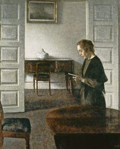Interior with a Lady Reading. Vilhelm Hammershøi (Danish, 1864-1916).