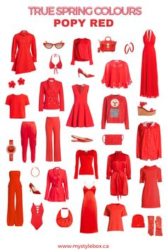 TRUE SPRING COLOURS_POPY RED Bright Spring, Warm Spring, Warm Autumn, Clear Spring, Spring Color Palette, Spring Colors, Seasonal Color Analysis, Fashion Capsule, Curvy Outfits