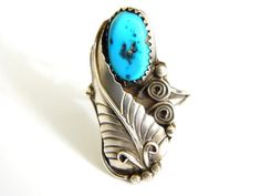 Henry Addikie Navajo Ring Turquoise Sterling Jewelry 1970s Native American Vintage Collectible Jewelry Rare Signed Henry Addikie Ring 6/7 by JewelryQuestDesign, $89.99