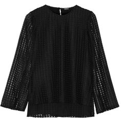 Adam Lippes Macramé lace top (£236) ❤ liked on Polyvore featuring tops, black, lace top, keyhole top, adam, sheer sleeve top and loose fitting tops