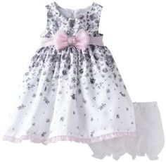 Nanette Baby-Girls Infant 2 Piece Woven Bow Dress And Panty Set [ Price:	$20.85]