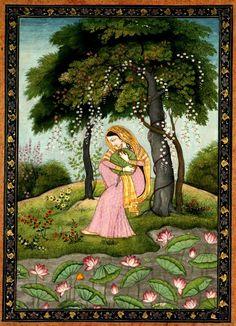 Virahini Nayika, Love-Torn Heroine, c. 1800. India, Pahari Hills, Kangra school, late 18th-early 19th Cent.