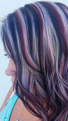 Pretty Hair Color, Beautiful Hair Color, Hair Color And Cut, Burgundy Hair, Purple Hair, Ombre Hair, Brown Hair With Blonde Highlights, Hair Color Highlights, Coloured Highlights