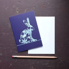 Snowflakes Hare Greetings Card by flyingcheesetoastie on Etsy
