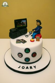 Jogar Consola PS3 18th Birthday Cake For Guys, Boys 18th Birthday Cake, Funny Birthday Cakes, Birthday Cakes For Teens, Birthday Games, Playstation Cake, Xbox Cake, Teen Boy Cakes, Bolo Original