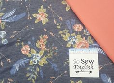 FT DENIM Floral Feathered Arrows- Rayon Poly Spandex French Terry - By the yard - So Sew English Fabrics Yard Care, French Terry, Knitted Fabric, Spandex, Sewing, Knitting, Arrows, Floral, Fabrics