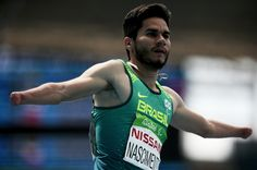 Yohansson Nascimento of Brazil reacts as he crosses the finish line in the men's 100 meter T47 round 1 on  day 3 of the Rio 2016 Paralympic Games at  on September 10, 2016 in Rio de Janeiro, Brazil.