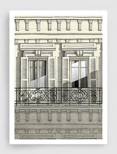 Illustrazione di Parigi - balcone di Parigi (versione verticale) - illustrazione di arte, stampe d'arte, poster d'arte, arte di Parigi, Parigi Decor, wall decor, grigio,