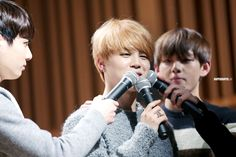 Jungkook | Jimin | Taehyung | maknae line | fansign | fansite | superduper.kr | orange hair | multiple microphones | LOL