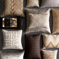 Cushions http://www.williams-sonoma.com/products/woven-leather-hide-pillow-cover/?pkey=cglobal-style-bedroom-two&