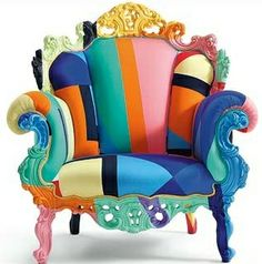 Colorful Upholstered Chair ... what those kinda cheap overstuffed wood trimmed chairs at Restore?
