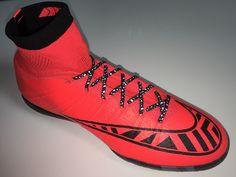 SR4U Black Premium Soccer Laces on Nike Mercurialx Proximo