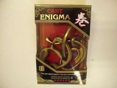 Collectible Cast Enigma Puzzle.  Can you take them apart? Can you assemble them Back Together? Based on the patented design of Eldon Vaughan in 1975 with a difficulty level of 6.  Designed for ages 8 and up.  Only $25