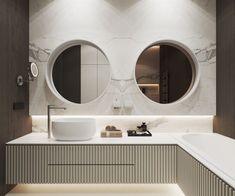 modern bathroom with circular double mirror #archovo #architectonline #architettoonline www.archovo.com