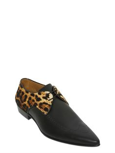 MOSCHINO shoes in leather and velvet wit leo print   LUISAVIAROMA