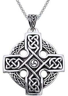 Jewelry Trends Sterling Silver Celtic Trinity Cross Knotwork Pendant on 18 Inch Box Chain Necklace -- Want to know more, click on the image.(It is Amazon affiliate link) #comments4comments