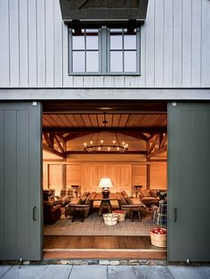Barn doors today are becoming part of interior decoration in many houses because they are stylish. When building a barn door on your own, barn door hardware kit Architecture Design, Farmhouse Architecture, Converted Barn, Barn Living, Living Room, Pole Barn Homes, Urban Farmhouse, Carriage House, Interior Exterior