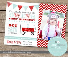 RED WAGON INVITATION - Printable Birthday Party -Vintage Feel with Chevron Pattern and Photograph Little Red wagon via Etsy