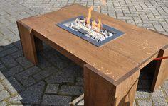 vuurtafel op gas / eikenhout behandeld met notenbeits    Designerstyle - design furniture & outdoor living