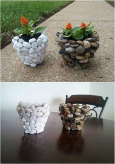 Fall is my favorite time for outdoor DIY projects. It's not too hot and there. - - Fall is my favorite time for outdoor DIY projects. It's not too hot and there's just something about landscaping against those beautiful fall colors t. Stone Planters, Diy Planters, Outdoor Planters, Diy Garden Projects, Garden Crafts, Outdoor Projects, Garden Ideas, Diy Nature Projects, Garden Art