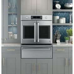 GE 30 in. Single Electric French-Door Wall Oven Self-Cleaning with Convection Wall in Stainless Steel-CT9070SHSS - The Home Depot