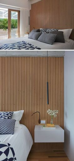 In this modern master bedroom a wood slat wall acts as an accent wall and it compliments the wood frame on the sliding glass door that opens up to the outdoor space with the hanging chair. Modern Master Bedroom, Modern Bedroom Design, Minimalist Bedroom, Master Bedroom Wood Wall, Trendy Bedroom, Wood Interior Design, Apartment Interior Design, Bathroom Interior Design, Bedroom Ceiling