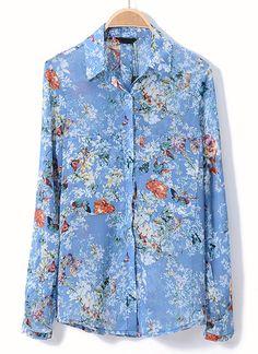 Blue Lapel Long Sleeve Butterfly Floral Blouse - Sheinside.com