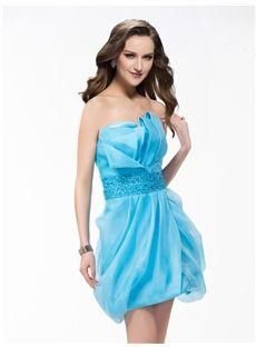 Fashion Strapless Zipper-Up Beading Cocktail Dress