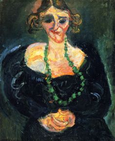 chaïm soutine(1894-1943), woman with green necklace, c. 1927-28. oil on canvas, 81.3 x 65.4 cm. private collection http://www.the-athenaeum.org/art/detail.php?ID=56705