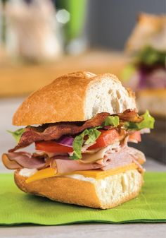 Tailgate Turkey & Ham Club Sub – This turkey club sub adds bacon, tomatoes and more, making it perfect for tailgates—and any other get-together where meaty sandwiches are welcome! For more tailgate recipes: https://kraft.promo.eprize.com/summer/hub?occasion=tailgate