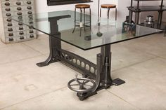 View this item and discover similar dining room tables for sale at - Vintage Industrial, Original Adjustable Dining Table/Desk base. American Made many years ago. Redesigned by Tim Byrne. Table adjusts from -