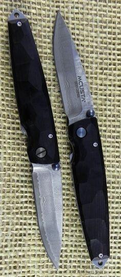 MCUSTA Classic Wood-Damascus Tsuchi EDC Folding Pocket Knife Blade