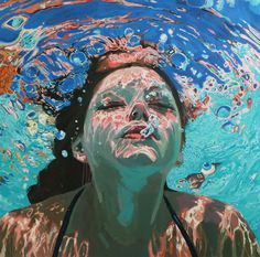 Underwater painting - Water Paintings by Samantha French – Underwater painting Art And Illustration, Cat Illustrations, Art Inspo, Underwater Painting, Painting Of Water, Water Paint Art, Water Paints, Water Drawing, Underwater Photos