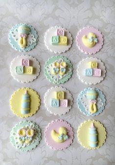 New Cupcakes Baby Shower Fondant Etsy Ideas Fondant Baby, Fondant Cupcakes, Baby Shower Cupcake Toppers, Fondant Cupcake Toppers, Baby Cookies, Baby Shower Cookies, Shower Bebe, Baby Boy Shower, Cupcake Mug