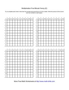 Delightful Five Minute Frenzy    Four Per Page (E) Multiplication Worksheet