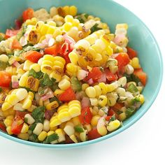 We love this Grilled Corn Salsa recipe! Get more ideas: http://www.bhg.com/recipes/party/party-ideas/potluck-recipes/