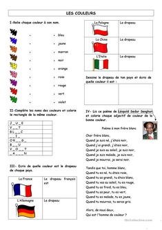 French Worksheets, French Classroom, French Resources, Spanish 1, Teaching French, Comprehension, Preschool, Messages, Colours