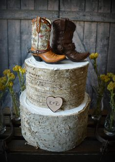 Western-boots-wedding-cake topper-cowboy-cowgirl-bride-groom-boots-hat-rustic-wedding decor-personalized-country-Mr and Mrs-hunting-horse on Etsy, $40.00