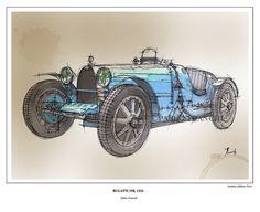 Gift for fans Bugatti 35B 1926 Limited Edition Fine by drawspots, $38.00