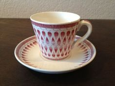 Upsala Ekeby Gefle Sweden Tea Cup and Saucer Red and White Lillemor Percy | eBay