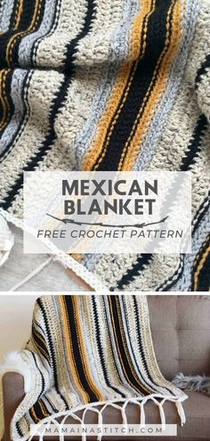 Easy Mexican Blanket Free Crochet Pattern This free pattern for a throw inspired by Mexican Serape Blankets is easy and fun to make! It uses basic crochet stitches and I love the colors. Crochet Afghans, Crochet Motifs, Basic Crochet Stitches, Afghan Crochet Patterns, Crochet Basics, Knit Crochet, Blanket Crochet, How To Crochet, Crochet Throw Pattern