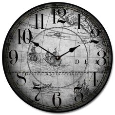 25 best map clocks images on pinterest world maps big clocks and old world map clock featuring drawings of whales and ships comes in gray or parchment gumiabroncs Gallery