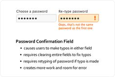 UX for Password Confirmation Field.