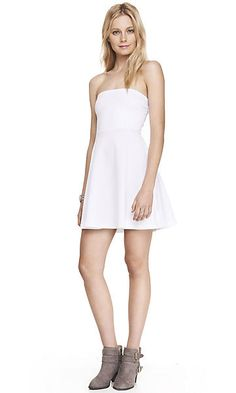 WHITE FIT AND FLARE HALTER DRESS Express Dresses