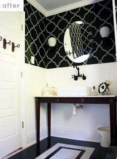 THAT'S MY RENOVATED BATHROOM!  Featured on Design*Sponge!  I'll be proud of that till the day I die, I swear.