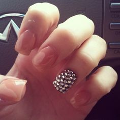 Nude nails one with rhinestones