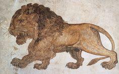 Lion, mosaïque, IIIe siècle apr. J.-C., Salakta (Tunisie). Musée archéologique de Salakta. Dans l'Énéide de Virgile illustrée par les fresques et les mosaïques antiques - Diane de Selliers, éditeur de livres d'art